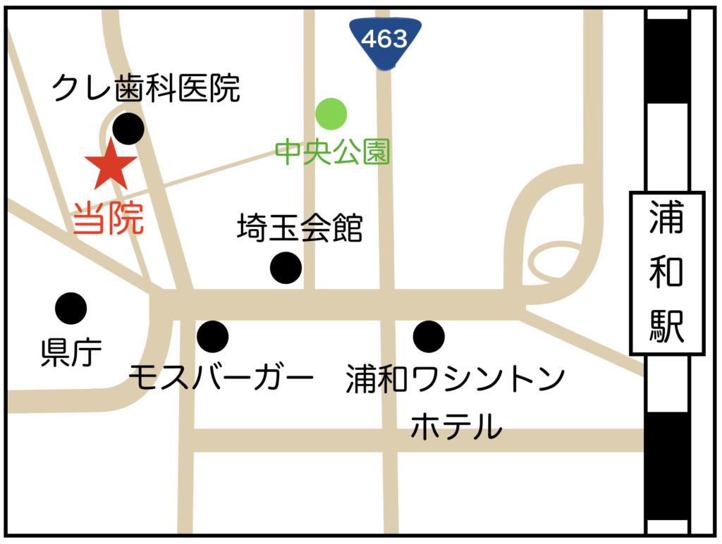 浦和区の巻き爪専門院のマップ
